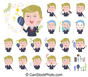 A set of men Donald Trump caricature on beauty. There are various actions such as skin care and makeup. It's vector art so it's easy to edit.
