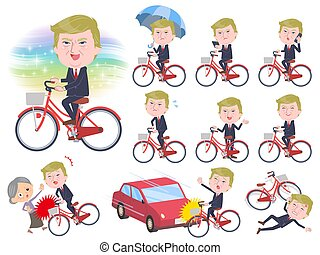 A set of men Donald Trump caricature riding a city cycle. There are actions on manners and troubles. It's vector art so it's easy to edit.