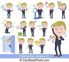 A set of men Donald Trump caricature on inferiority complex. There are actions suffering from smell and appearance. It's vector art so it's easy to edit.