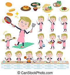 A set of men Donald Trump caricature about cooking. There are actions that are cooking in various ways in the kitchen. It's vector art so it's easy to edit.