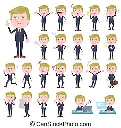 A set of men Donald Trump caricature with who express various emotions. There are actions related to workplaces and personal computers. It's vector art so it's easy to edit.