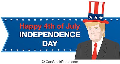 August 14, 2017 A vector illustration of the President of the USA Donald Trump who congratulates with Independence Day