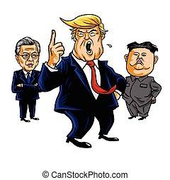 Donald Trump, Kim Jong-un, Moon Jae-in. Cartoon Vector Illustration. September 23, 2017