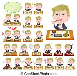 A set of men Donald Trump caricature about meals. Japanese and Chinese cuisine, Western style dishes and so on.It's vector art so it's easy to edit.