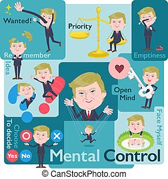A set of men Donald Trump caricature who control emotions. A variety of image illustrations expressing self emotion. It's vector art so it's easy to edit.
