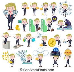 A set of men Donald Trump caricature with concerning money and economy. There are also actions on success and failure. It's vector art so it's easy to edit.