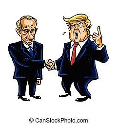 Donald Trump Shakes Hands with Vladimir Putin. Cartoon Caricature Vector Illustration. October 30, 2017