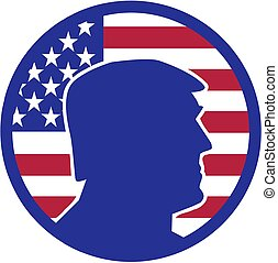 Donald Trump silhouette in front of USA flag batch