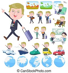 A set of men Donald Trump caricature on travel. There are also vehicles such as boats and airplanes. It's vector art so it's easy to edit.