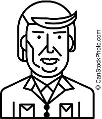 donald trump vector line icon, sign, illustration on white background, editable strokes
