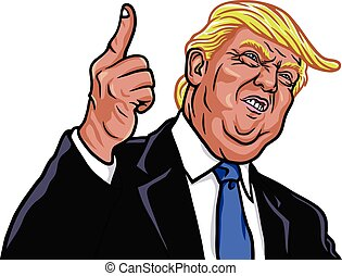 Donald Trump Vector Portrait Illustration The 45th President...