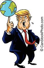 donald, trunfo, caricatura, tocando, globe., vetorial,...