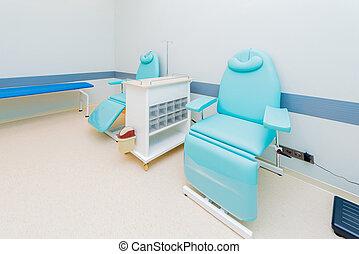 donante de sangre, habitación, en el hospital