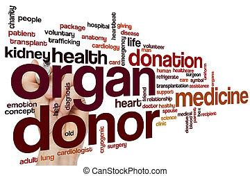 donante del órgano, palabra, nube