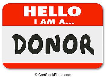 donante, palabra, hola, etiquetadel nombre, pegatina,...