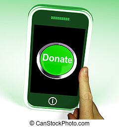 donar, botón, en, móvil, exposiciones, caridad, y,...