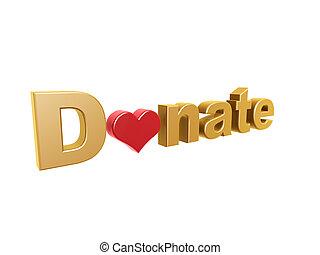 donar, corazón rojo, símbolo