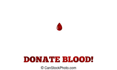 Donate blood animation - drop grows from mini drop to the full size then text blinks