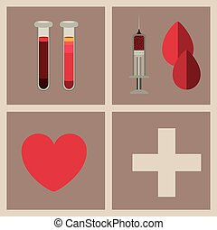 Donate Blood design over brown background, vector ...