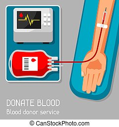 Donate blood donor service. Medical and healthcare concept.