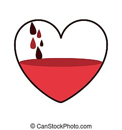 donate blood in heart shape with drops