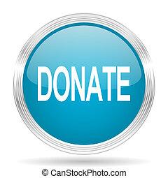 donate blue glossy metallic circle modern web icon on white ...