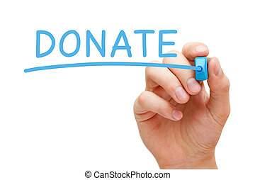 Hand writing Donate with blue marker on transparent wipe board.