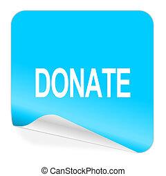 donate blue sticker icon