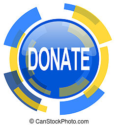 donate blue yellow glossy web icon