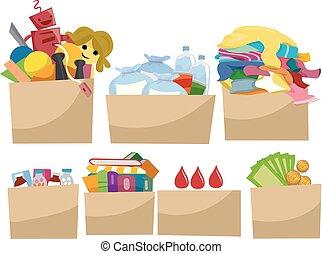 Donate Boxes Element Illustration