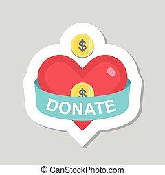 Donate button and sticker