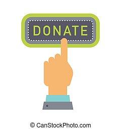 Donate button. Help icon donation