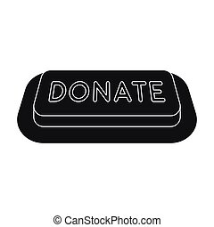 Donate button icon in black style isolated on white background. Charity and donation symbol stock vector illustration.