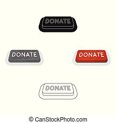 Donate button icon in cartoon, black style isolated on white background. Charity and donation symbol stock vector illustration.