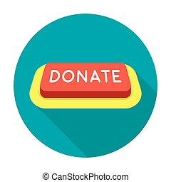 Donate button icon in flat style isolated on white background. Charity and donation symbol stock vector illustration.