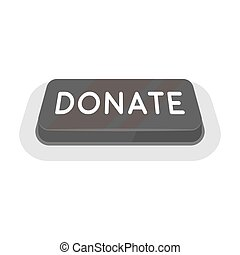 Donate button icon in monochrome style isolated on white background. Charity and donation symbol stock vector illustration.