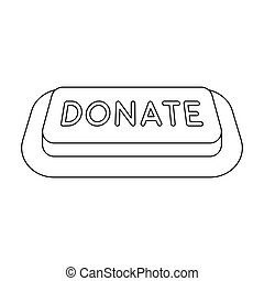 Donate button icon in outline style isolated on white background. Charity and donation symbol stock vector illustration.