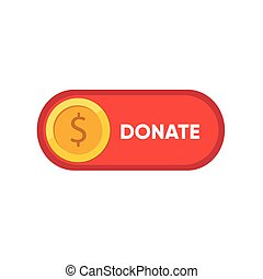 Donate button icon. Red button with yellow icon for your website, Philanthropy, charity and volunteering symbol Web design