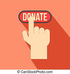 Donate button pressed by hand flat icon