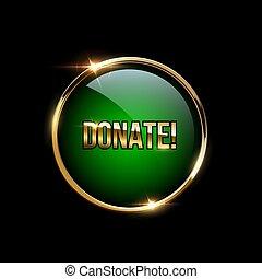 Donate button realistic vector illustration