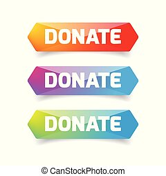Donate button set low poly