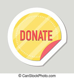 Donate button, sticker with gold coin