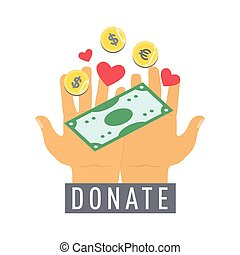 Donate button, sticker with hands, dollar money