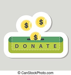 Donate button with coin and dollar
