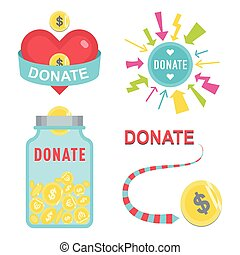 Donate buttons set. Help icon donation