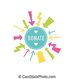 Donate buttons set. Help icon donation - Donate button with...