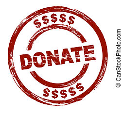Donate - A stylized red stamp that shows the term donate....