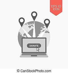 Donate concept icon. Flat design gray color symbol. Modern UI web navigation, sign.
