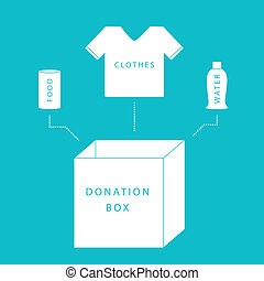 Donate concept of a donation box with food, water and ...