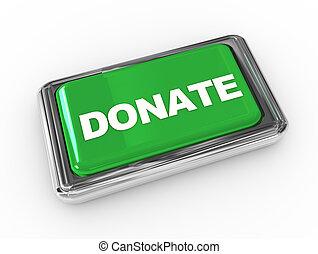 """""""donate"""", cromo, texto, botón, empujón, 3d"""